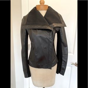 Cole Haan Leather Zip Front Jacket